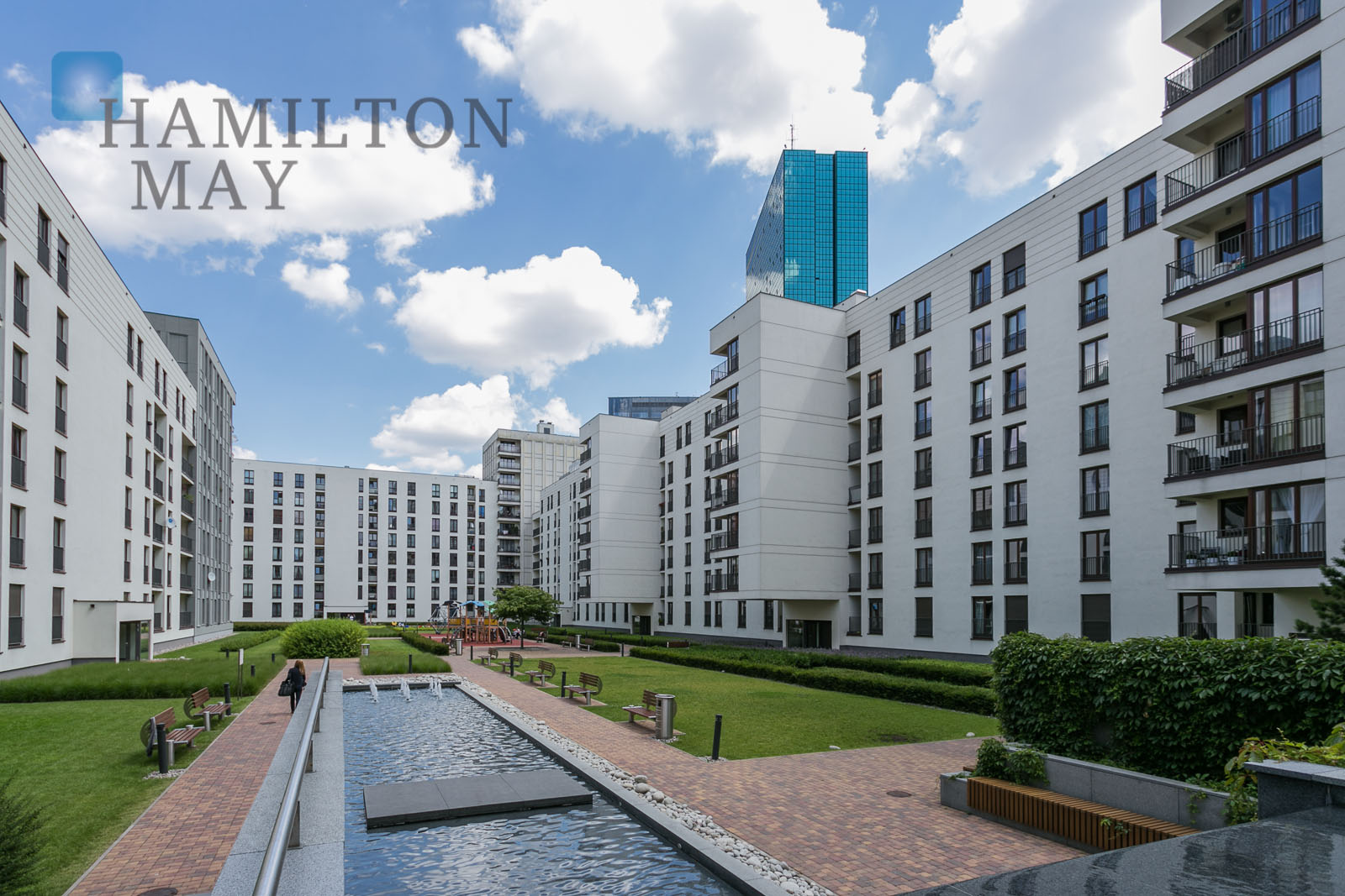 Spacious, sunny, two bedroom apartment with a terrace in the prestigious Murano Apartments investment Warsaw for rent