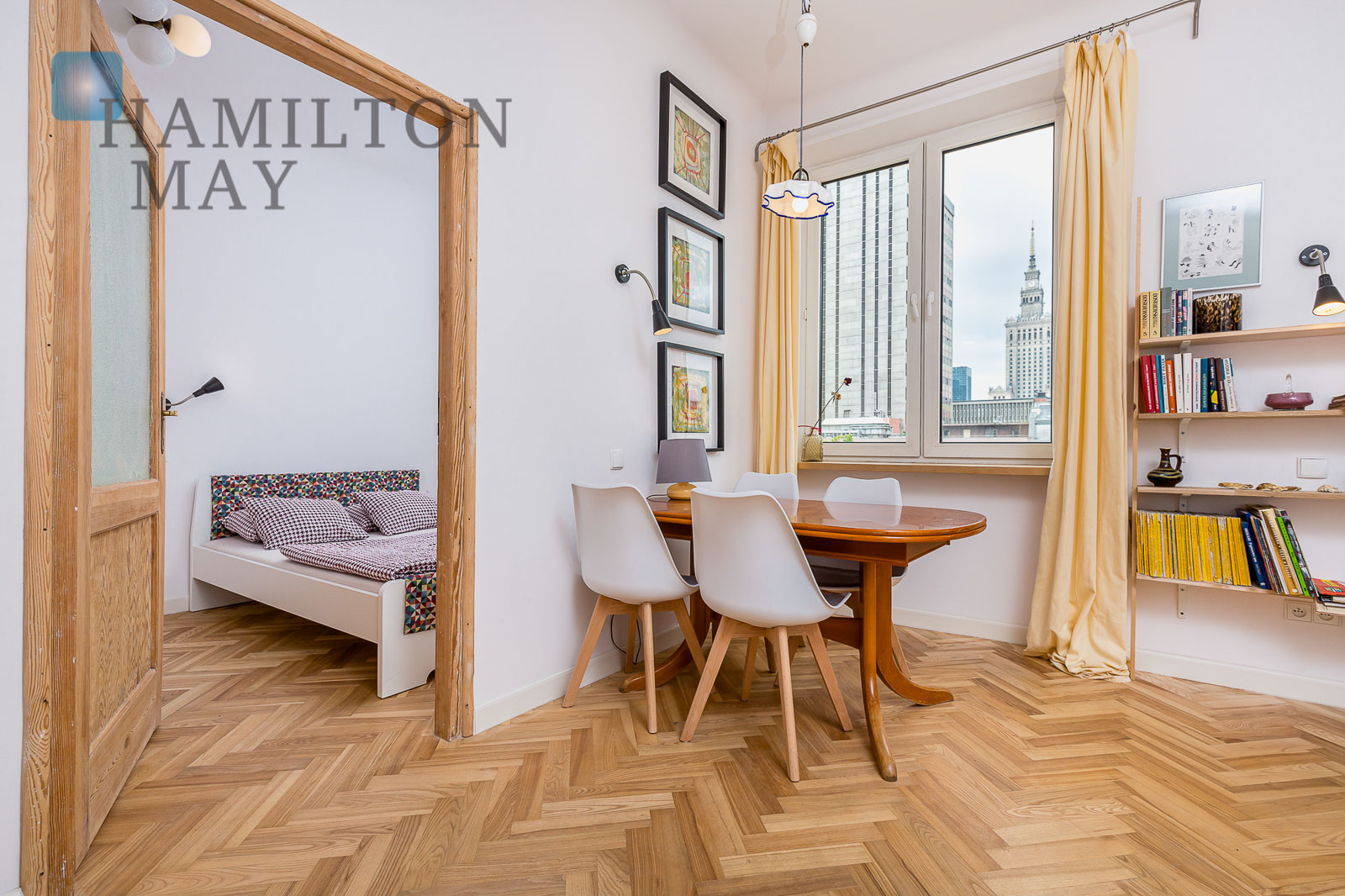 Apartment divided into two separate two-room apartments with a view of the PKiN Warsaw for sale